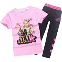 Lumiery Girls JoJo Siwa Print Cartoon T Shirt+Trousers Children Casual Set 2pcs - Pink - 130(8-9y)
