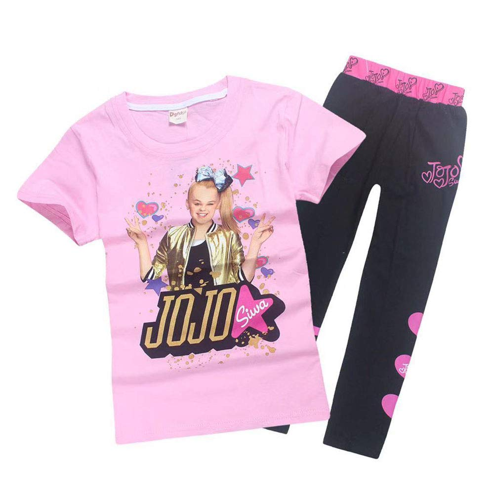 Girls JoJo Siwa Print Cartoon T Shirt+Trousers Children Casual Set 2pcs (Pink, 120(6-7y))