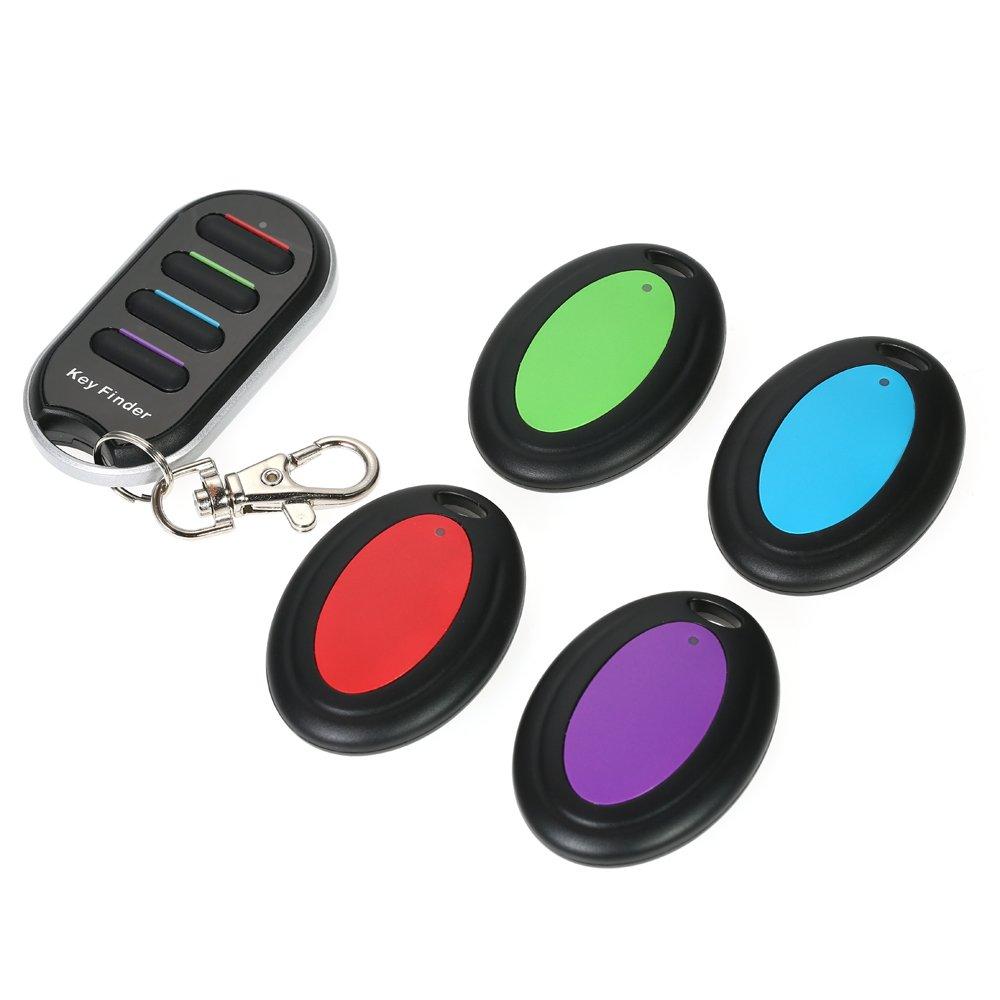 Decdeal Inteligente Buscador de Llaves Inalámbricas,1Transmisor y 4 Receptor Llavero Anti-perdida de Alarma,con Linterna LED