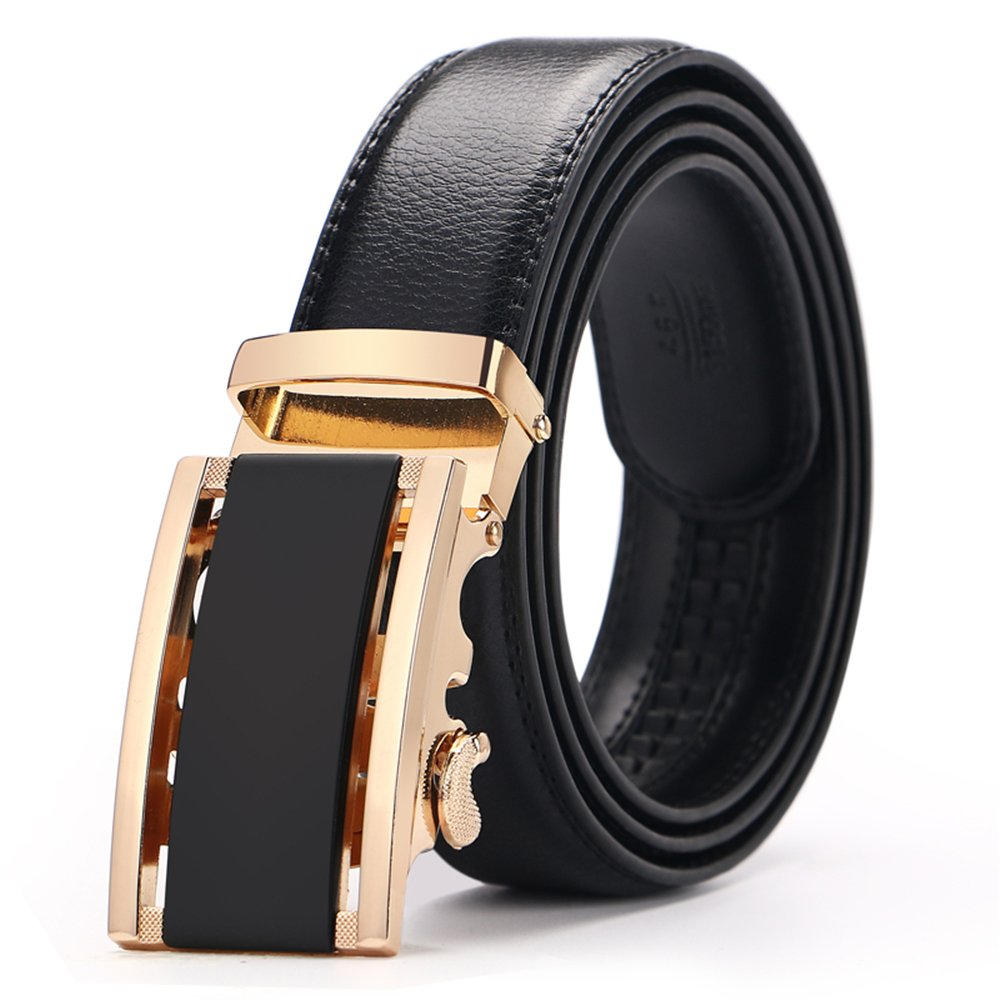 Men's belt, Iztor Ratchet Leather Belt for men Automatic Buckle 35mm Wide 1 3/8 With Gift Box for from 20 to 43 Waist Men' s belt BT1509