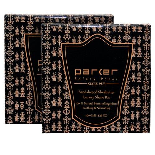 TWIN PACK - Parker Safety Razor Premium Sandalwood & Ethiopian Shea Butter Shaving Soap - 100 gm bars (3.5 ounces)