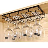 HOUTBY Large Stemware Glass Rack Hook Under Cabinet Chrome Wine Glass Rack Stemware HolderHanger for Bar Club Home 4 Row