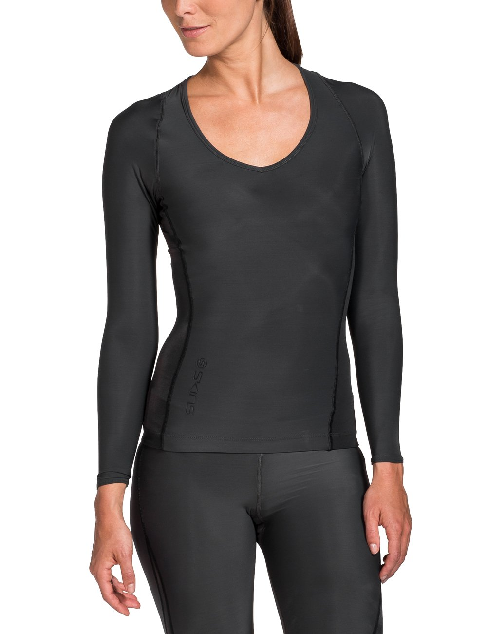 Skins Women's Ry400 Recovery Long Sleeve Top, Black, SmallH