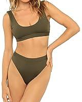 Nulibenna Women's Solid Scoop Tankini Cropped Top High Waist Cut Bikini Swimsuit