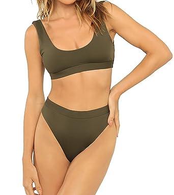 8d8a3245d5 Nulibenna Women s Solid Scoop Tankini Cropped Top High Waist Cut Bikini  Swimsuit Army Green
