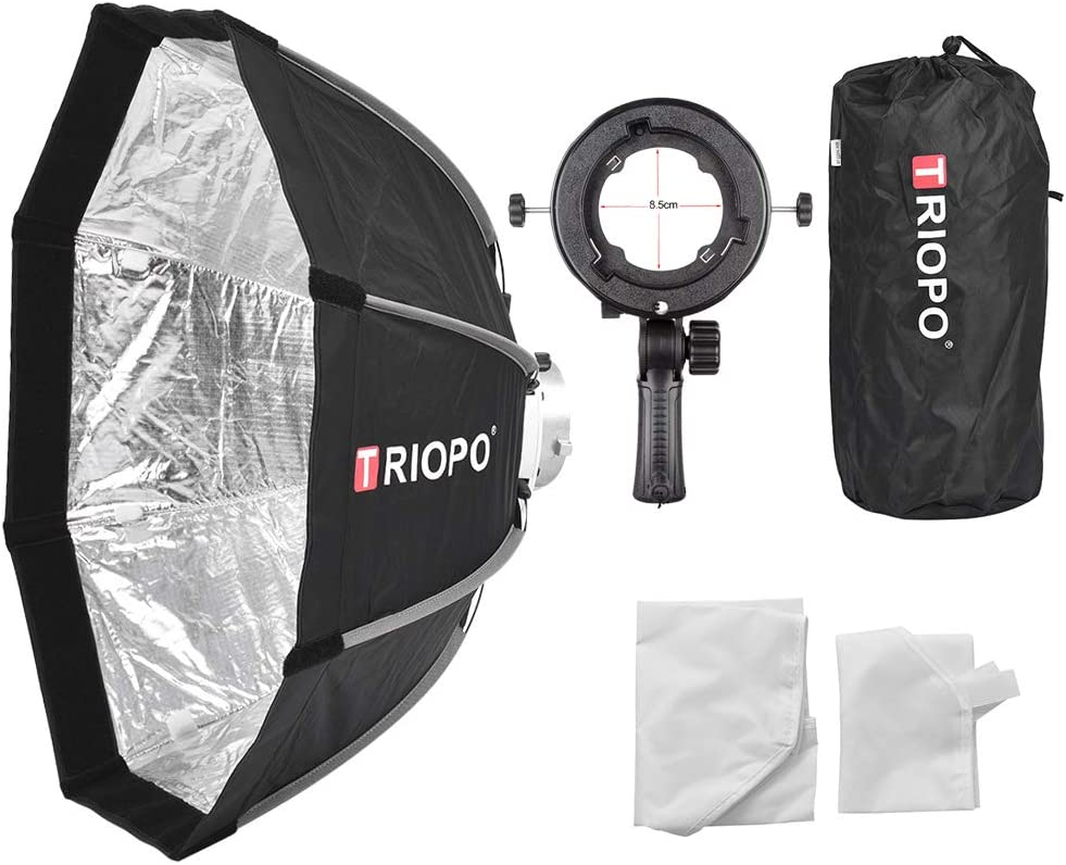 Triopo 90cm Octagon Softboxes Bowens Mount with Speedlight Flash Bracket TR-05 Kit for Video Lighting Photography