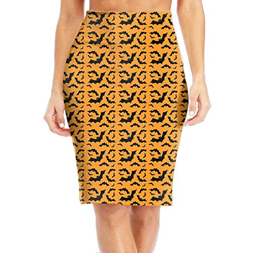 Free Halloween Bat Women's High Waist Bodycon Career Office Midi Pencil Skirt (Halloween En El Peru)