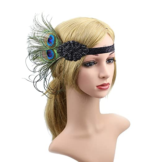 Amazon.com  CHUANGLI Sparkling Flapper Headband 1920s Art Deco Gatsby  Peacock Feather Headpiece for Wedding Cocktail Party  Clothing a944c85410c