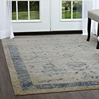 Home Dynamix Nicole Miller Palmer Bija Runner Area Rug 22 x72, Distressed Cream/Gray