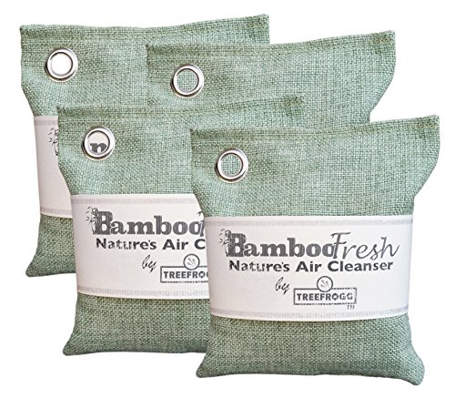 Bamboo Charcoal Air Purifying Bag, 4 Pack 800g Natural Freshener NON-TOXIC Purifier ~ NATURALLY ELIMINATES Odors Allergens & Harmful Pollutants ~ Fragrance Free, Chemical Free ~ ReUse Up To 2 Years -