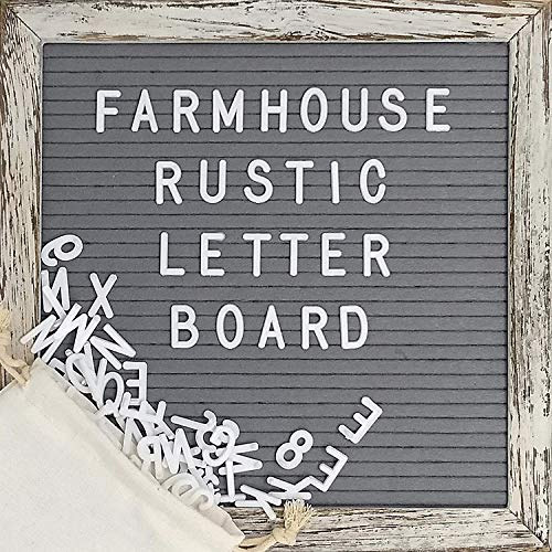Felt Letter Board, Memo Board with Shabby Chic Farmhouse Rustic Wood Frame, Gray Felt, Changeable Message with 374 Precut White Letters, Emojis, Wall Hook, Canvas Bag and Stand