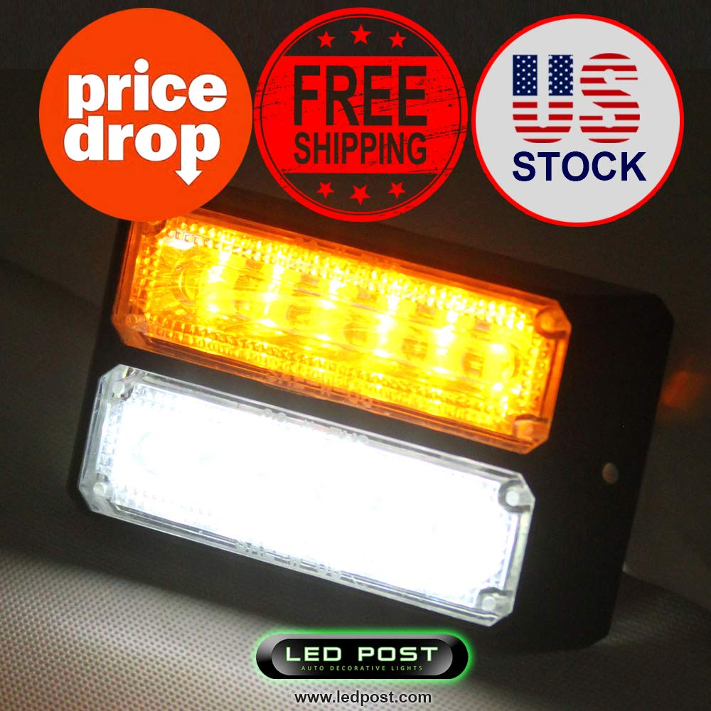 36W Cree LED Emergency Warning Hazard Flash Strobe Beacon Light Bar Yellow Amber Car & Truck LED Light Bulbs