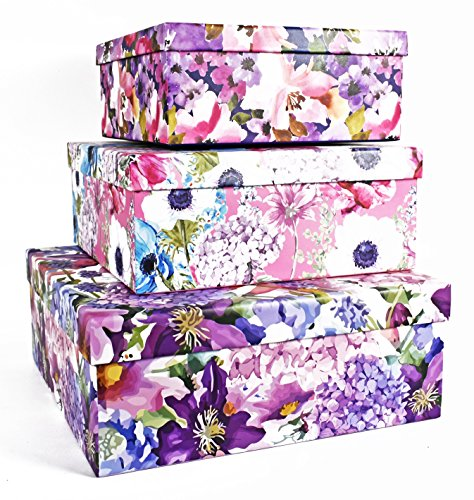 ALEF Elegant Decorative Water Color Flowers Themed Nesting Gift Boxes -3 Boxes- Nesting Boxes Beautifully Themed and Decorated - Perfect for Gifts or Simple Decoration Around The House!