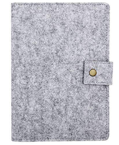 A5 Wool Felt Cover Business Notebook Refillable Writing Journal Cover with Business Card Pocket Pen Holder,Spiral Bound Binder Hardcover Notepad 6 Ring Portfolio Planner Travel Diary,Magnetic (Schedule Business Card Magnets)