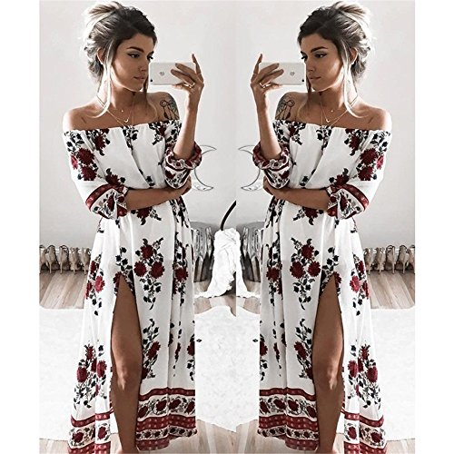 Taille t Imprim Robe Bustier Plage Robes Badeau 4 Blanc Col Floral Femmes 3 Bohme Grande Maxi Robe de Manche Longue 4FA8qAwT