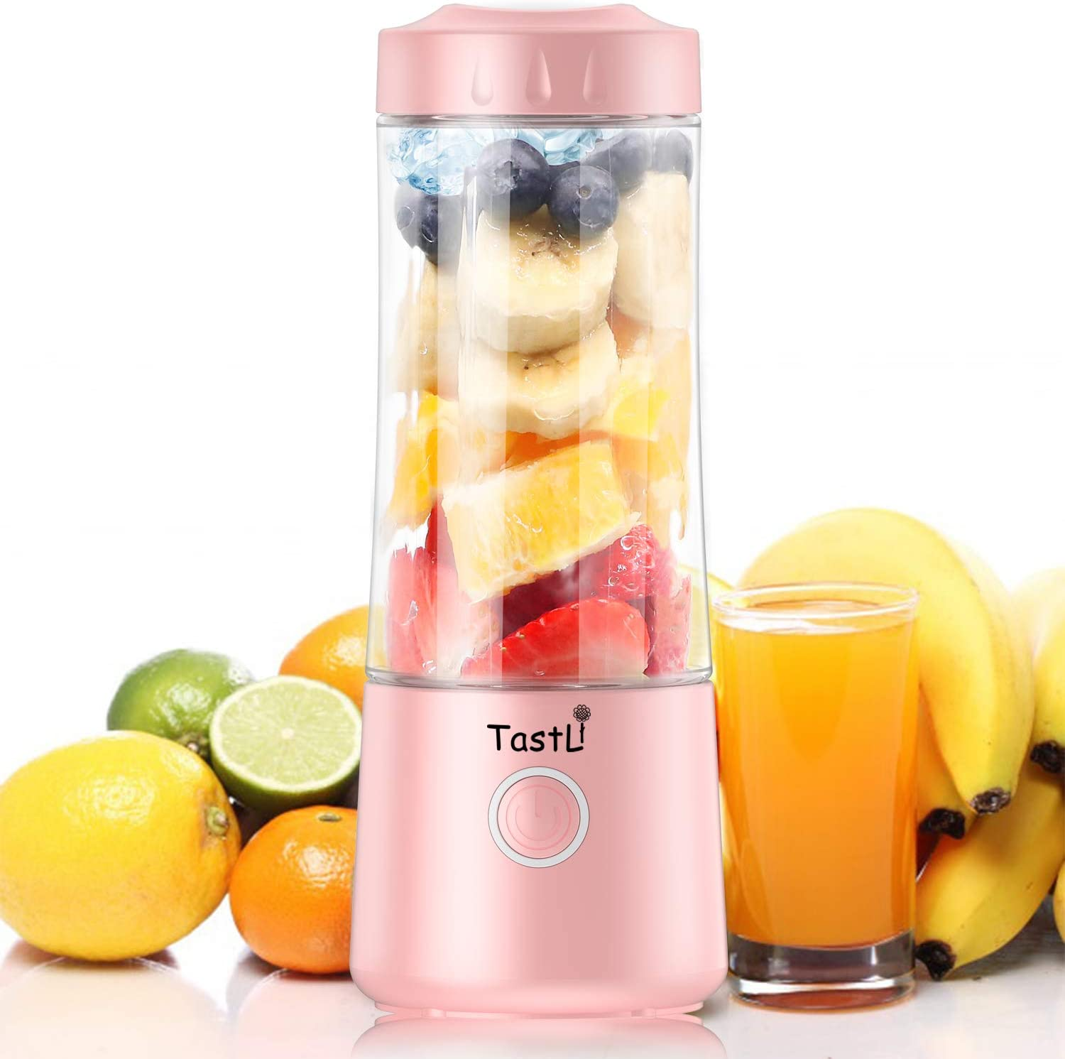 TastLi Portable Personal Blender, Mini Travel Fruit Ice Electric Smoothie Blender Juicer Cup Maker Mixer, with 14 oz Bottles, 6 Blades and 4000mAh USB Rechargeable for shakes and smoothies (Pink)