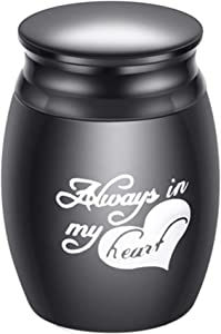 Small Decorative Memorial Cremation Keepsake Urns for Human Pet Ashes Mini Cremation Urn for Ashes Waterproof Stainless Steel Ashes Holder-Always in my heart(S7-Style4/Black-S)