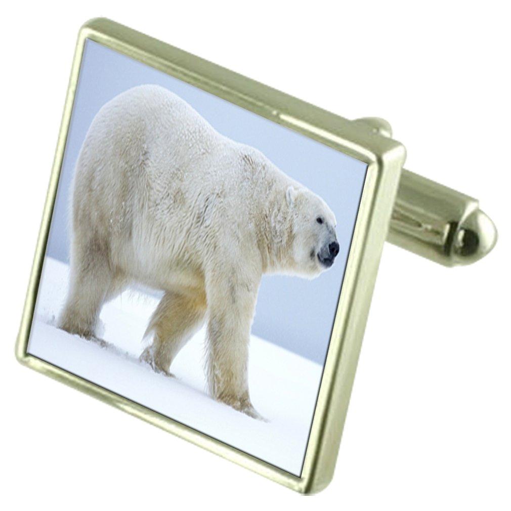 北極の純銀製のカフスボタンオプションの刻印されたベアボックス   B072L9PGXY