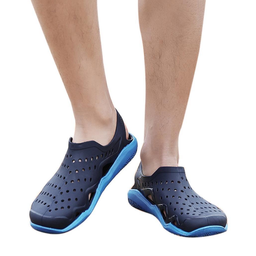 vermers Clearance Sale Outdoor Casual Sandals Walk Beach Flip Flops Flat Men Hollow Light Shoes Slipper(US:9.5, Blue)