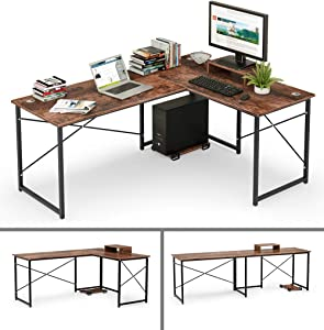 Cyfie L-Shaped Computer Desk, Two Person Corner Writing Desk, 95'' Transformable Working Long Desk, Gaming Table with Monitor+CPU Stand, Cable Management Hole for Workstation Home Office Study Studio