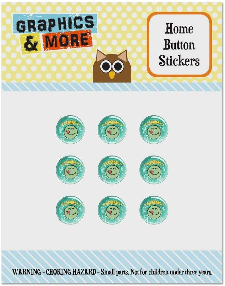 Yummy Food Smiley Face Officially Licensed Set of 9 Puffy Bubble Home Button Stickers Fit Apple iPod Touch, iPad Air Mini, iPhone 5/5c/5s 6/6s 7/7s Plus