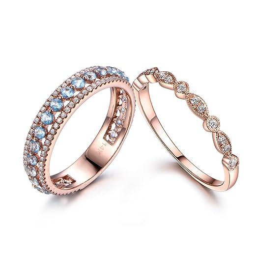 2pcs swiss blue topaz wedding band set anniversary 14k rose gold diamond milgrain stacking ring 3 - Topaz Wedding Ring