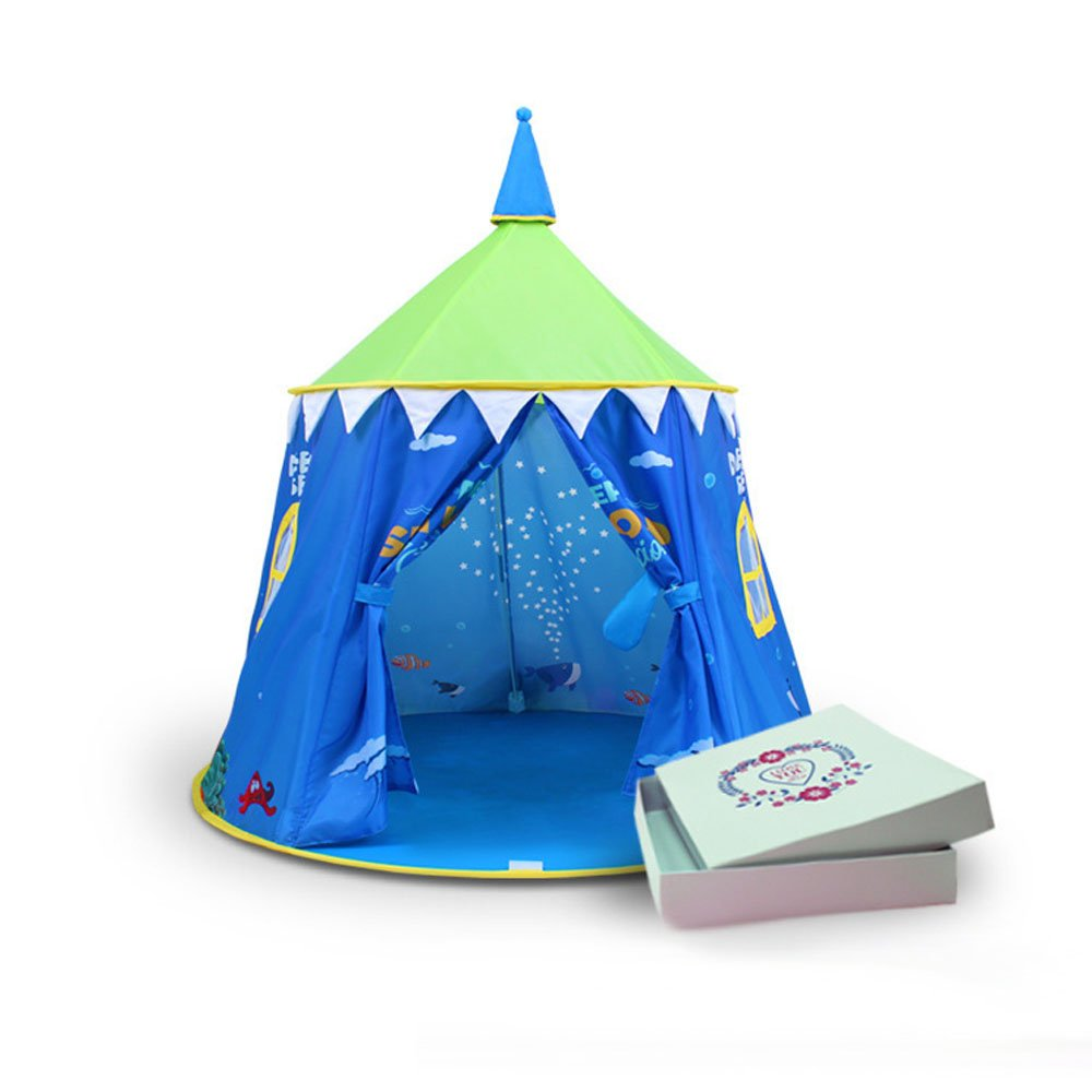 T- Children Game Tent Color Cartoon Pattern Round Yurts Indoor And Outdoor Toys Tents (only One Tent) ( Color : Blue )
