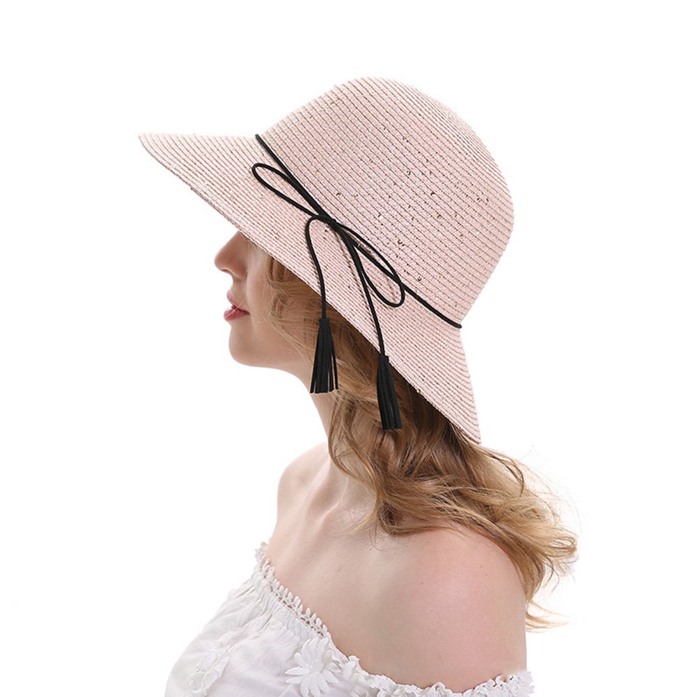 96a7b2829e0 SENBAO Womens Big Brim Sun Hat Floppy Foldable Bowknot Straw Hat Summer  Beach Hat Hats