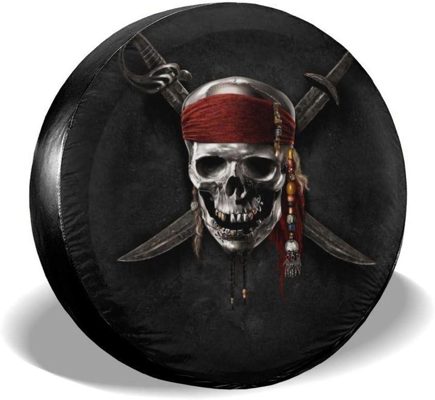 VTIUA Pirate Skull Polyester Universal Sunscreen Borse per Pneumatici Exclusive Borsa Copriruota 14 15 16 17 Pollici Ruota Wheel Bag
