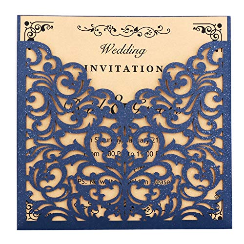 Laser Cut Wedding Invitations 50 Packs FOMTOR Laser Wedding Invitation Card Kits with Blank Printable Cards and Envelopes for Wedding,Birthday Parties,Baby Shower Navy Blue