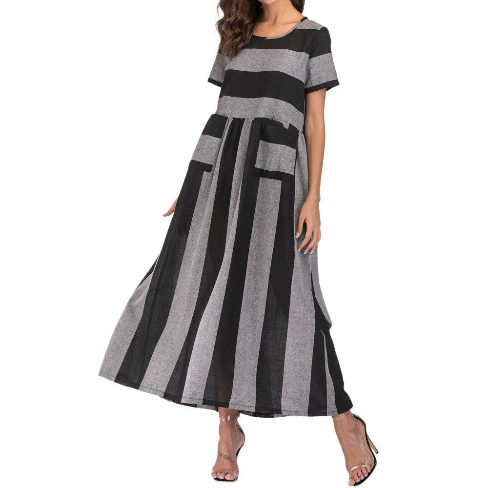 87b768a7f1 Top3  BODOAO Women Cotton Linen Striped Loose Pocket Long Bohe Dress Kaftan Short  Sleeve Dress
