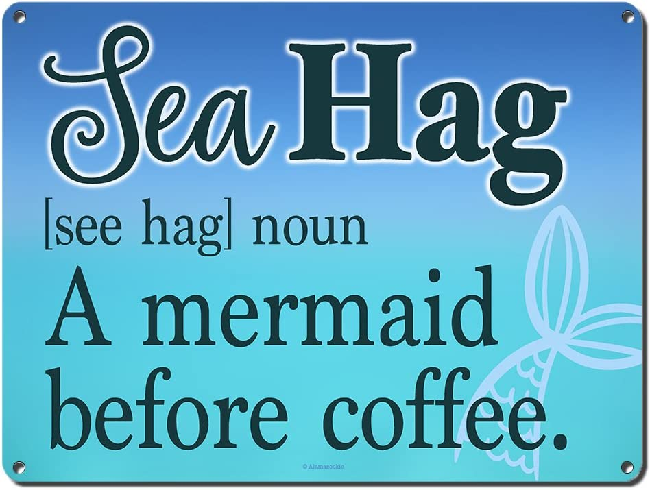 Sea Hag, A Mermaid Before Coffee, 9 x 12 Inch Metal Sign, Beach Theme Decor, Home Wall Decorations and Gifts for Ocean Lovers, Teenagers, Dorm Room, Cottage, Housewarming, Office Decor, RK3058 9x12