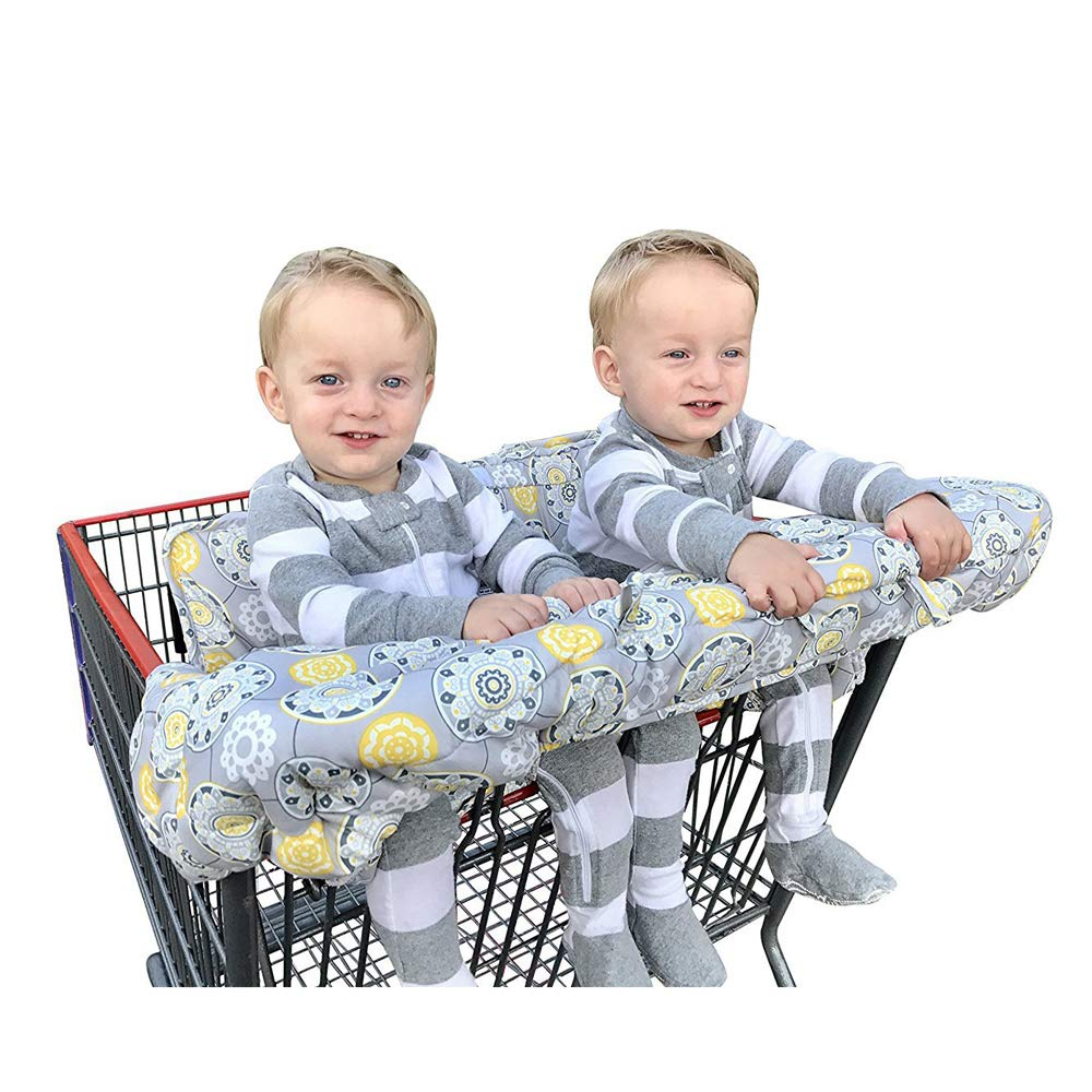 Twin Double Shopping Cart Cover for Baby Siblings 4 Leg Holes High Chair Trolley Pad Extra-Large Size,Blue