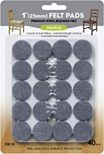 Slipstick Premium Wool Felt Furniture Pads/Floor Protectors (1 Inch Round Value Pack) Includes 40 Heavy-Duty Felt Chair Leg Pads with Self-Stick Adhesive, Gray, CB115