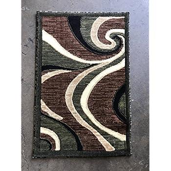 Amazon Com Americana Modern Door Mat Area Rug Green Swirl