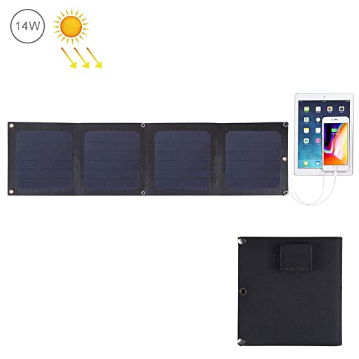 QWERDF Cargador Solar De Bolsillo Portátil para Acampar, 14W ...