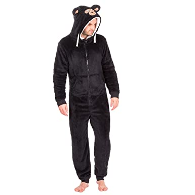 025980233a93 Mens Snuggle Fleece Animal Hood Winter Onesie   Onezee   All In One ~  Gorilla or Wolf (L   XL
