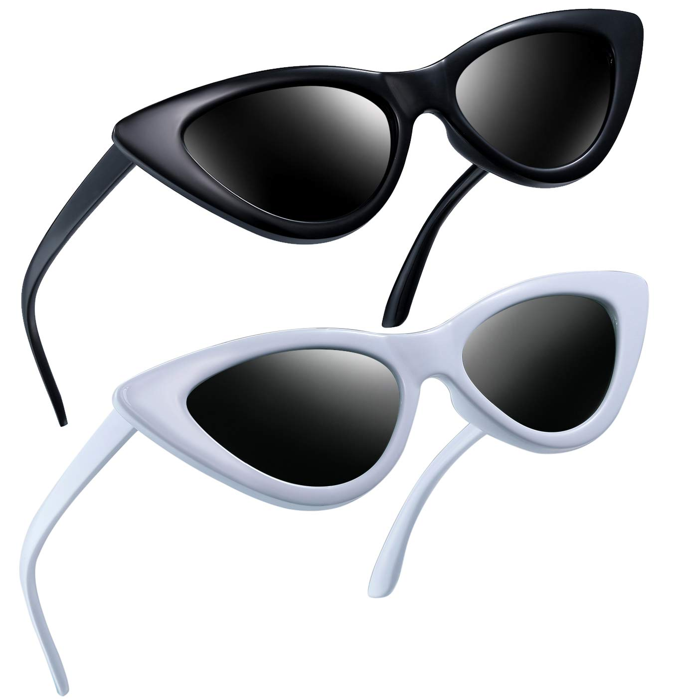 Joopin Vintage Polarized Cat Eye Sunglasses - Women Retro Cateye Sun Glasses Pointy Sunglasses E8908 (Black+White) by Joopin