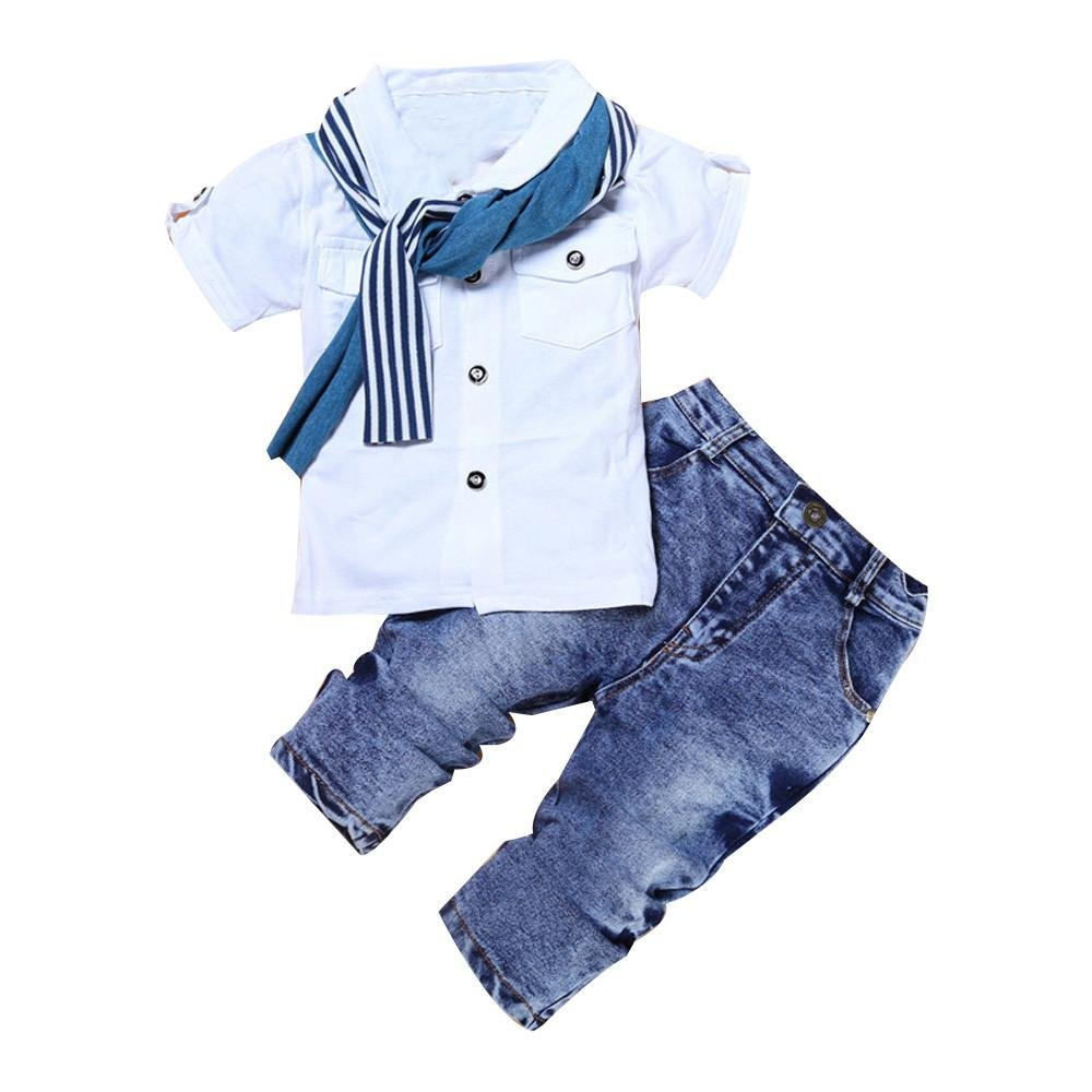 Boys Clothing Set, for 1-7 Years Old, 3pcs Kids Baby Clothes Creative Short Sleeve T-Shirt Tops+Scarf+Trousers Infant Outfits Clode-Boys Clothing -1006