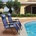 GPCT [Ergonomically Designed] Adjustable Compact/Collapsible/Folding Zero Gravity Recliner Chairs W/ Pillow! Great for Outdoor, Patio, Pool Side, Beach Side, Yard, Home [2 Pieces] [Blue]