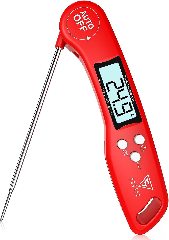 DOQAUS Termometro Cocina de Lectura instantánea de 3s, Termometro Horno digital, con Sonda larga y ° C / ° F Conmutable, para Cocina, BBQ, Comida, Horno, Liquidos,Aceite, Agua (Rojo)