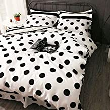 100% Cotton Black and White Duvet Cover Set Modern Reversible Polka Dot Print Bedding Set, Set of 4, Queen Size