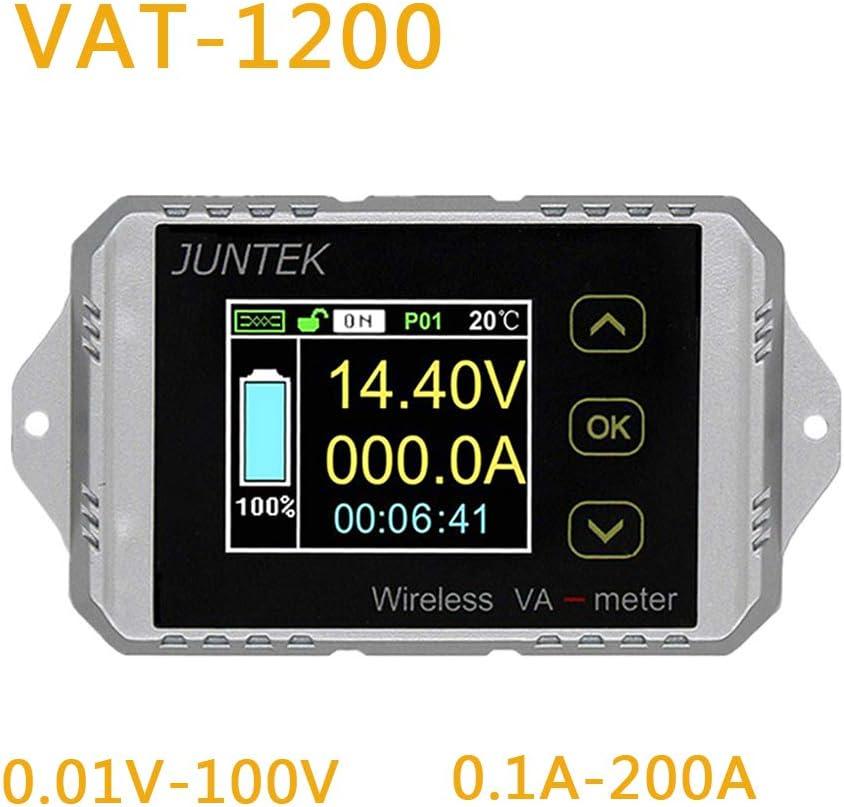 RONSHIN Electronic for Juntek VAT1200 Wireless Voltage Current Meter 100V 200A Car Battery Monitoring 12V 24V 48V Battery Coulomb Counter VA Meter