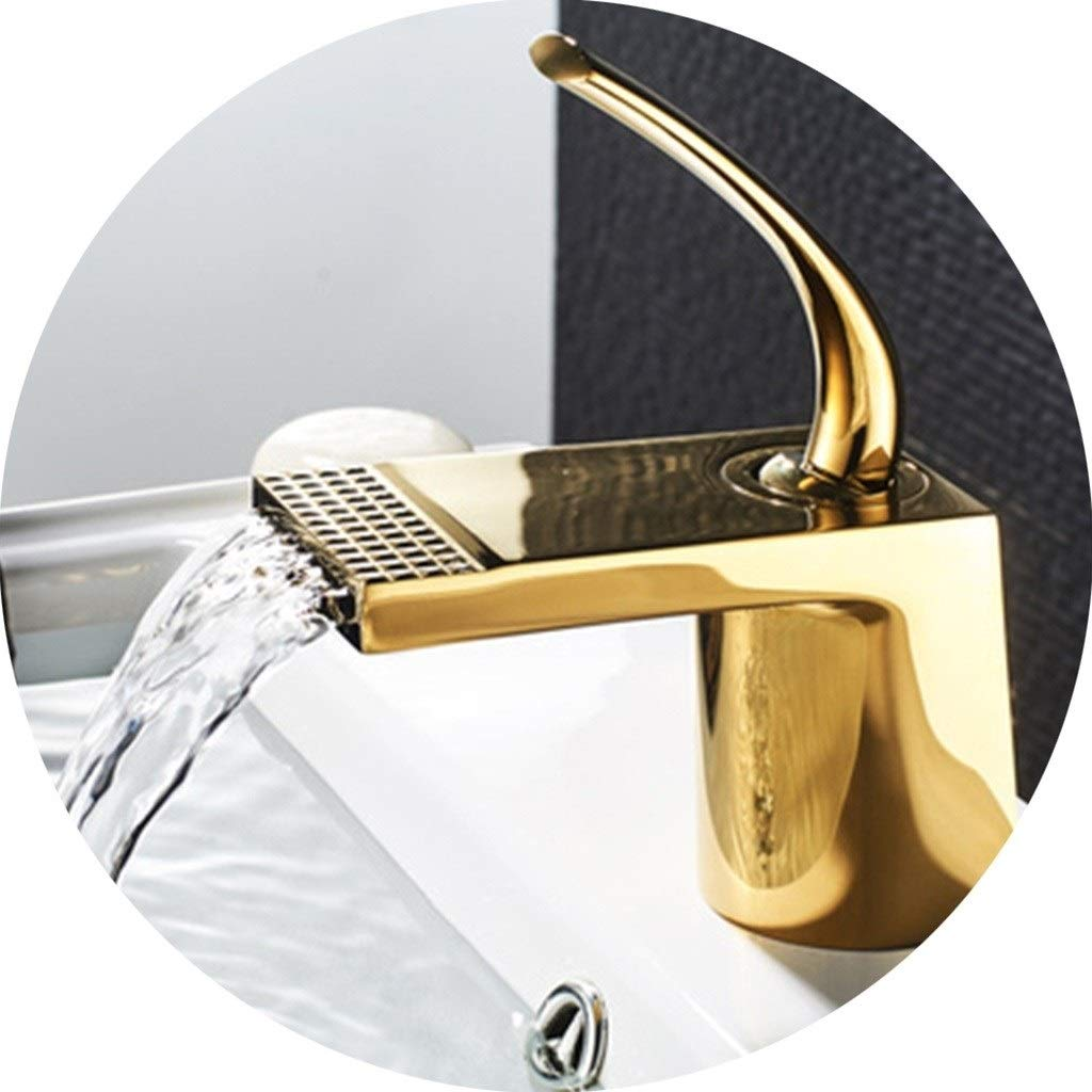 Kitchen Sink Faucets Faucet Light Luxury Black Ancient Wide Mouth Above Counter Basin Flat Mouth Short Faucet Square Gold Nordic Retro Hotel Faucet (Color : B, Size : 1513.26.8cm)