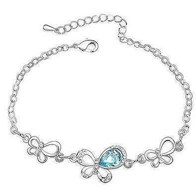 0926b648e6723 Aqua Blue Clear Crystal Butterfly Butterflies Bracelet Made With ...