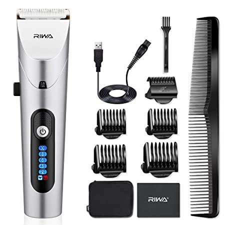 Electric Hair Clippers, RIWA Mens Cordless Hair Trimmer Hair Cutting Kit Beard Trimmer for Men, Waterproof Rechargeable Hair clipper with LED Display and Travel Bag
