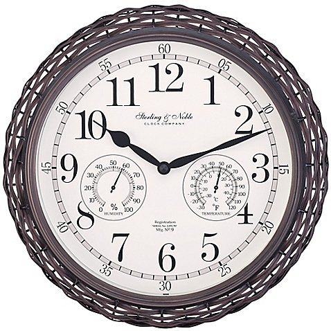 Sterling & Noble Dark Woven Indoor/Outdoor Wall Clock in Brown by Sterling & Noble