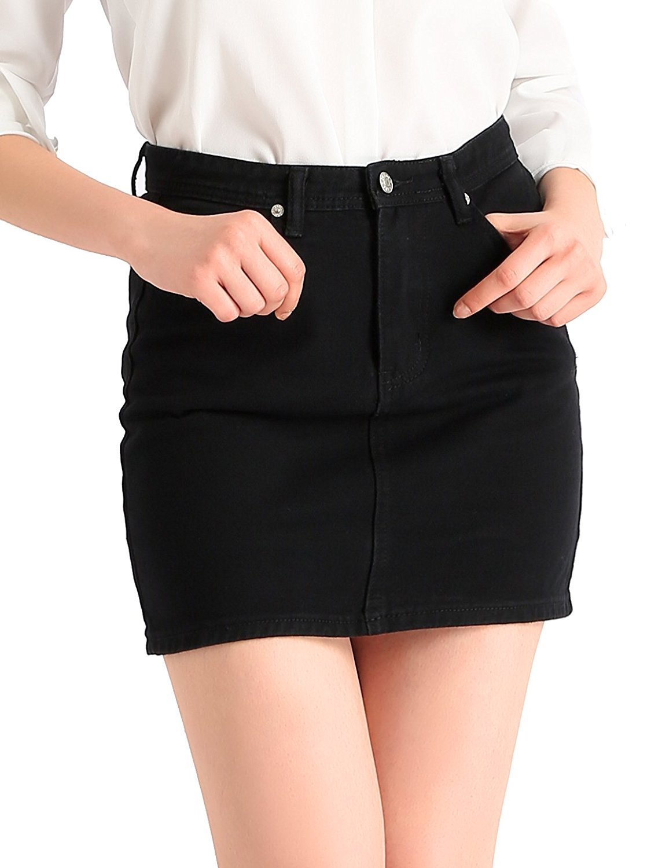 Beluring Womens Girls Vintage Denim Jean Cute Short Casual Skirt Black Size 12W