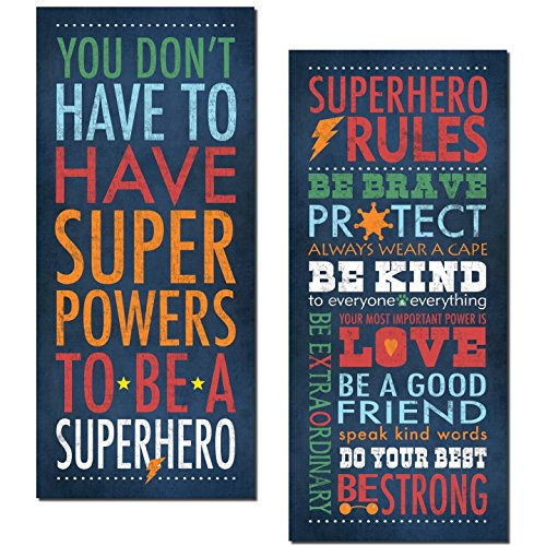 Superhero Rules Set by Stephanie Marrott; Two 8''x18'' Prints by Gango Home Decor
