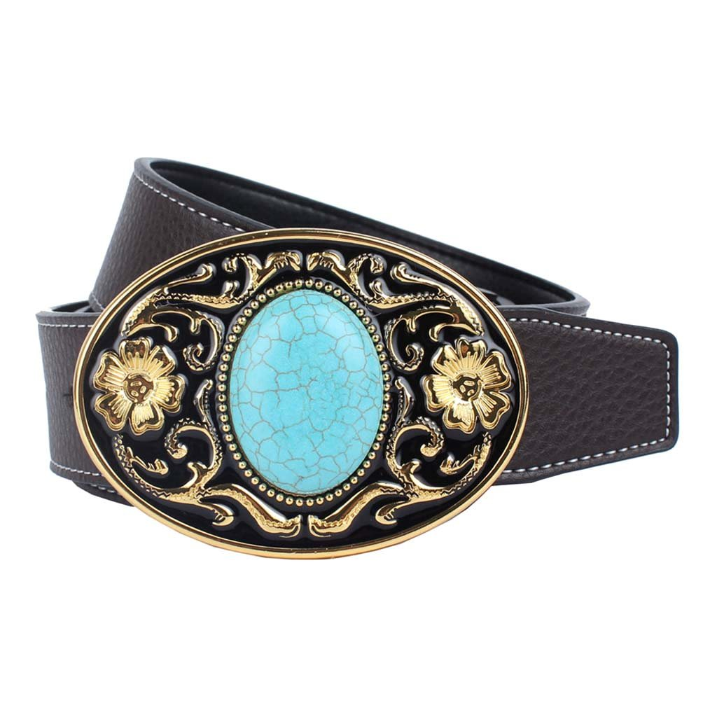 Baosity Western Leather Belt Arabesque Floral Pattern Buckle For Womens Mens